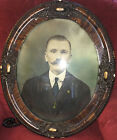 Antique Ornate Gesso Oval Convex Bubble Glass Picture Frame