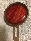 VINTAGE RED GLASS JEWEL ROUND BICYCLE / MOTORCTCLE REFLECTOR
