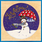 Let it Snow! Snowman Rubber Stamp by Mary Engelbreit - Windy Winter Night Scene