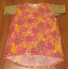 Womens Lularoe Pink Yellow Floral T Shirt W Navy Blue Striped Sleeves Size 14