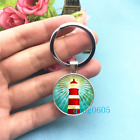 Lighthouse Art Photo Tibet Silver Key Ring Glass Cabochon Keychains 290