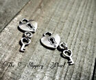 BULK Lock Key Charms Antiqued Silver 50 pieces Wholesale Heart Keyhole Steampunk
