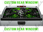 Green Gothic Wings Skull Rear Window for Dodge Chevy Pickup Truck Perforated