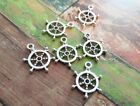 6 Ship Wheel Charms Antiqued Silver Nautical Pendants Sailing