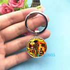 Gustav Klimt Slice Art Photo Tibet Silver Key Ring Glass Cabochon Keychains 283