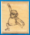 Baby Chimpanzee Rubber Stamp by Mostly Animals Cute Little Ape Swinging