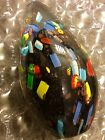 Millefiori Glass Egg Shape Studio Paperweight Multi Color Abstract Mornist Italy
