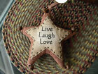 Set of 2 Live Laugh Love Fabric Star Rusty Bells Primitive Vintage Shabby Look