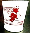 Rare Bosco Bear Mug Snowball Fight Fire King Anchor Hocking Milk Glass Cup Vtg