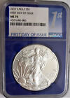 Lot of One NGC MS70 First Day Issue Silver Eagle Dollar w Blue Slab Insert