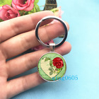 Heart Art Photo Tibet Silver Key Ring Glass Cabochon Keychains 230