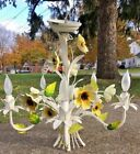 Vintage Toleware Metal Floral Leaf Hanging Chandelier 5 Light Lamp
