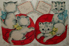 Flocked Dbl Sided Kittens on a Pillow Cat 1940s Vintage GIBSON Card