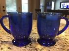 Vintage Anchor Hocking Cobalt Blue Glass Mugs USA Coffee Tea Cups set of 2