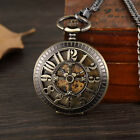 Vintage Bronze Arabic Numerals Case Skeleton Mechanical Pocket Watch Necklace