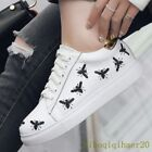 Women's Fashion Casual Leather Skateboard Pumps Emboridery Lace Up Flat Sheos sz