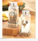 Glass Rooster Decorated Salt and Pepper Shaker Set  Silver Metal Accents