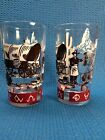 Vintage Western Chuck Wagon Train Cattle Brands Cowboy Glasses Set Of 2