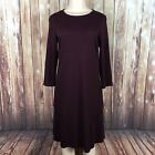 J Jill Womens S Small Pante Burgundy Black Print 3/4 Sleeve Stretch Dress
