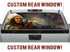 America Indian Mountain Wolf Howling Native Truck Perforated Vinyl Window Decal