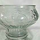 vintage Crystal punch bowl with raised grapes pears plums and peaches