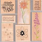 Lot of 7 Friends  Flowers Stampin Up + Others Wood Mounted Rubber Stamps