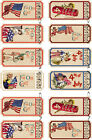 12 PATRIOTIC CHILDREN FLAG 4TH TICKET HANG GIFT TAGS FOR SCRAPBOOK PAGES 14