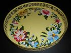 Vintage Yellow Metal TOLEWARE Hand Painted 11 1/2