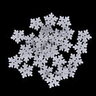 100Pcs White Snowflake DIY Wooden Buttons for XMAS Decor Scrapbooking CraftsSN