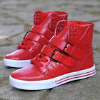 Mens High Top Sneakers Buckle Lace Up Boots Hip hop Round Toe Casual Shoes