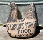 Farmhouse poultry food advertisement sign cupboard tuck chicken hen primitive