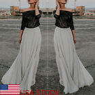 USA Women Boho Chiffon Long Maxi Dress Lady Beach Dresses Casual Sundress Skirt