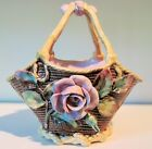 Antique Majolica Basket Applied Rose And Daffodil Flowers 1880s