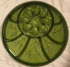 Vintage Indiana Green Glass Deviled Egg Divided Serving Tray Dish Plate