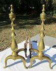 Antique HOWES #18 Andirons Fire Dogs Brass w/ Cast Iron Log Rest NICE Patina