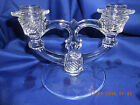 1- Indiana Glass Double Light Candlesticks Candle Holders Etched Discontinued