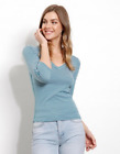 THREE DOTS Montauk 3 4 Sleeve V Neck Striped Cotton Tee Shirt Top Blue S 75 B4