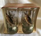 Set of 4 Large Mouth Bass/Fish/Fishing Glasses Libbey Collectable Barware - NEW