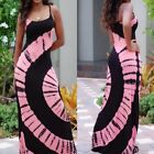 Sexy Colorful Tie Dye Print Summer Beach Slim Long Maxi Dresses Tank Top BD225
