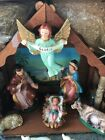 Large RARE Vintage Stable Home House  Nativity Set SCENE Christmas Jesus
