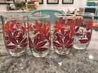 RARE RARE VINTAGE 60s SET 4 MID CENTURY DRINKING GLASSES. Red Hemp Type Leaf