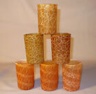 6 SPAGHETTI STRING MID CENTURY SMALL TUMBLER DRINKING GLASS YELLOW ORANGE GREEN