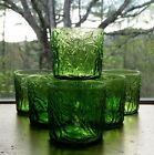 VINTAGE  GREEN DRINKING GLASSES  WITH EMBOSSED LEAVES 3
