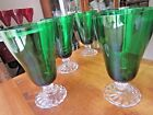 Collectible Vintage Emerald Green Glasses w/clear glass swirl bases, set of 5
