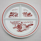 Vintage Fire King Vitrock Red Little Bo Peep Divided Child's Baby Dish Plate