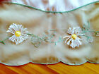 51 Square Scalloped Tablecloth Embroidered Embellished with Daisies Green White