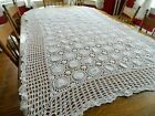 Vintage White Cotton Hand Crocheted Table Cloth Tablecloth Approx. 49