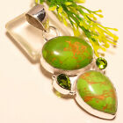 Green Copper Turquoise Gemstone 925 Sterling Silver Pemdant 2.5