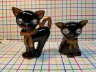 Vintage Leftons Ceramics Cats salt and pepper shakers with jewel eyes