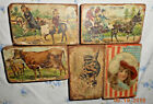 AAFA 5 ANTIQUE 1800s PICTURE LEARNING BLOCKS  INCLUDING CENTENNIAL FLAG BLOCK